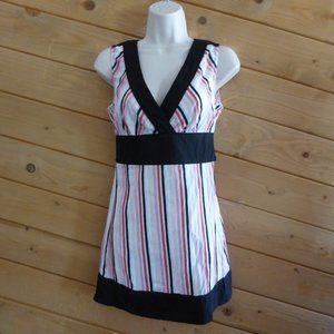 Mac & Jac Black Pink Stripe Ties Back Blouse Tunic
